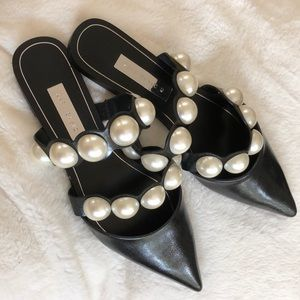 Zara flats with pearls
